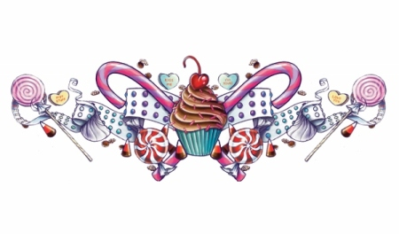Cupcake Lower Back Temporary Tattoo