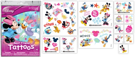 Disney Temporary Tattoos: Mickey, Minnie, Donald Duck, Daisy Duck
