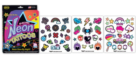 Neon Glow in the Dark Temporary Tattoos