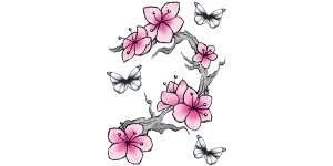 Pink flower temporary tattoo