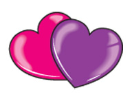 Pink and purple heart temporary tattoo for Valentine's Day
