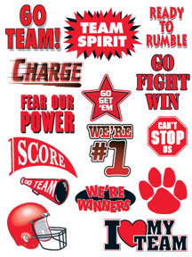 Go Team red sports temporary tattoos