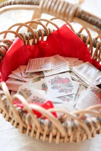 Temporary tattoo wedding favors in basket