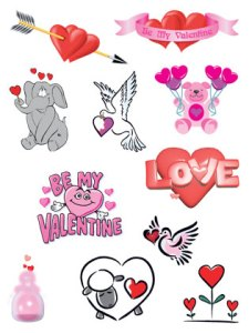 Love, hearts & teddy bears temporary tattoo collection