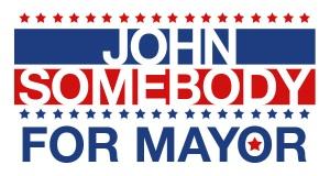 """""""John Somebody for Mayor"""" temporary tattoo"""