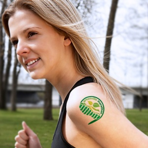 Girl wearing marathon temporary tattoo