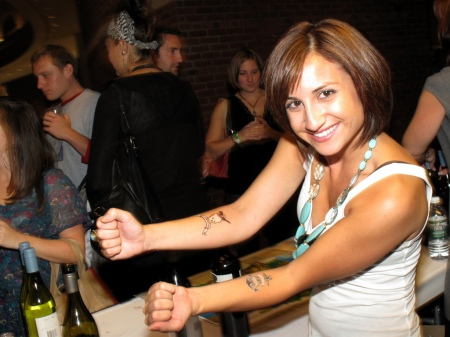 Second Glass Wine Riot temporary tattoos in action