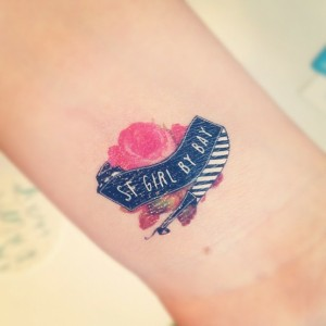 sfgirlbybay logo temporary tattoo on wrist