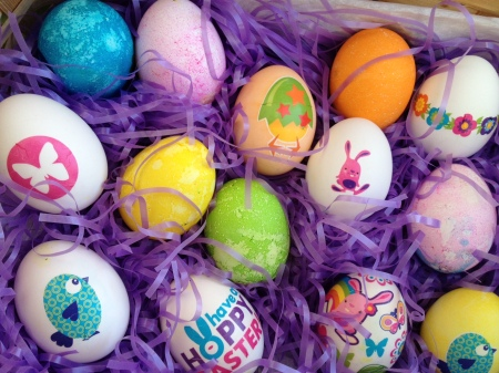 basket of eggs with temporary tattoos