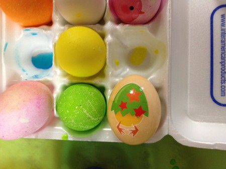 Easter eggs with chick