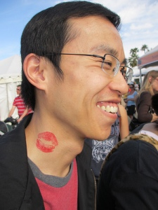 Guy with kiss temporary tattoo
