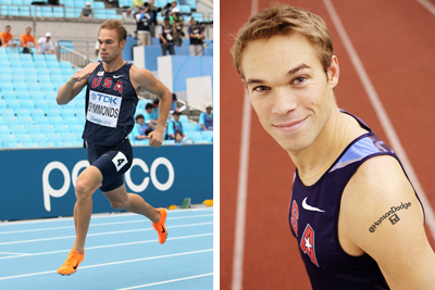 Nick Symmonds wears temporary tattoo
