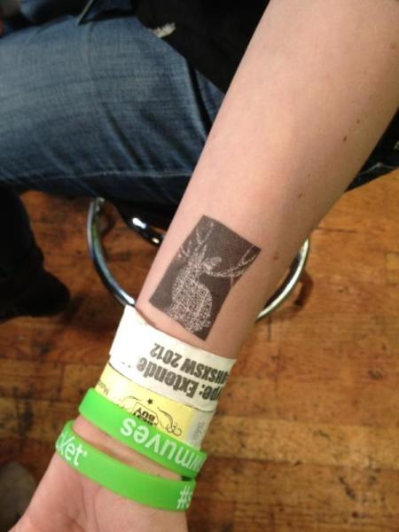 SXSW Miike Snow band QR code tattoo