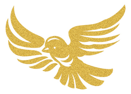 Gold Glitter Sparrow Bird Temporary Tattoo