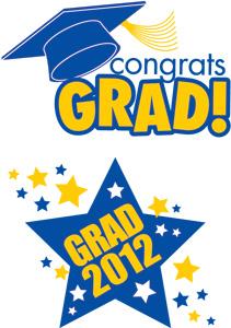 Graduation school spirit colors blue and yellow temporary tattoos