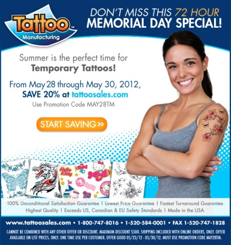 Tattoo Manufacturing Memorial Day Sale