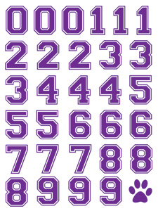 Purple sports number temporary tattoos